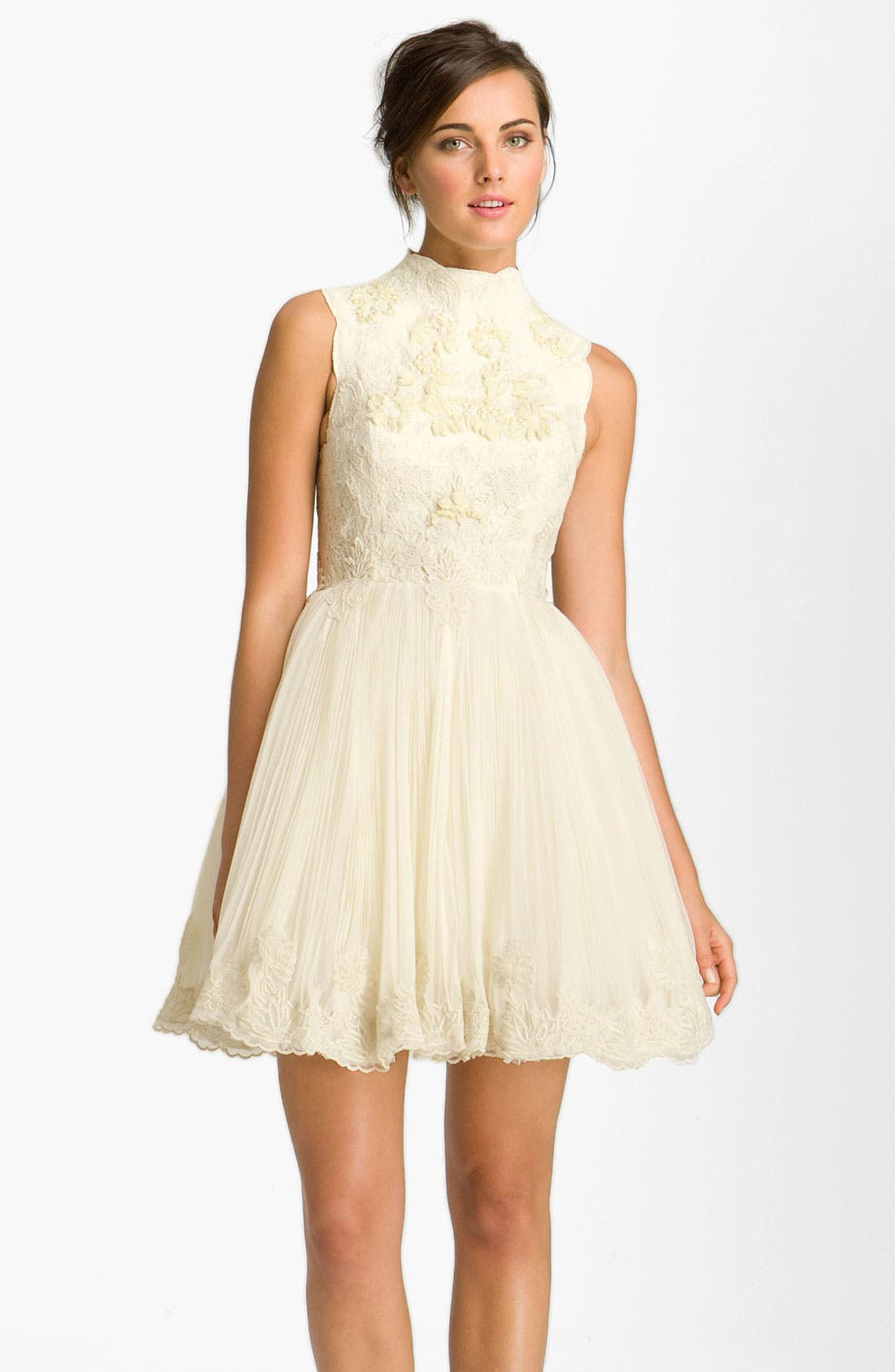 'Telago' Embroidered Tulle Frock,                         Main,                         color, Cream