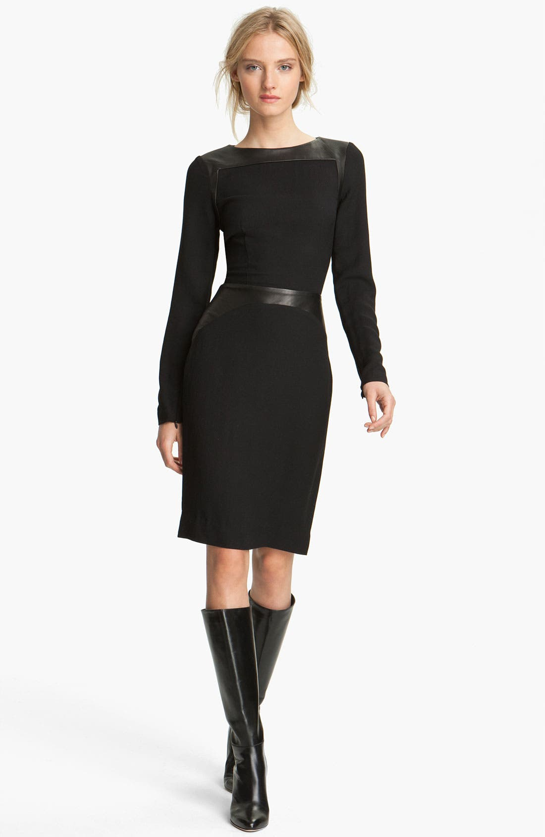Alternate Image 1 Selected - L'AGENCE Leather Inset Dress