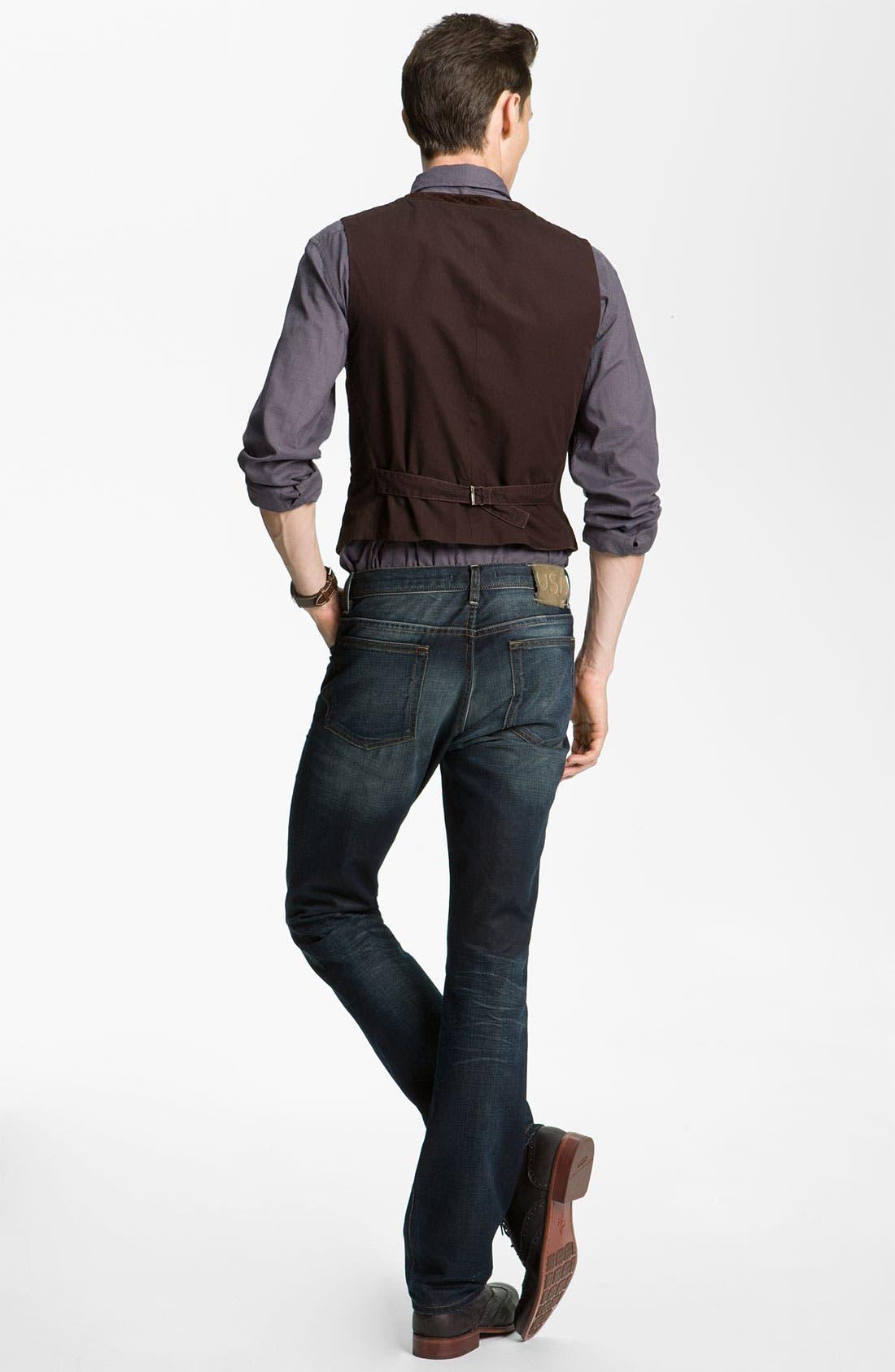 Alternate Image 6  - John Varvatos 'Bowery' Slim Straight Leg Jeans (Dark Indigo)