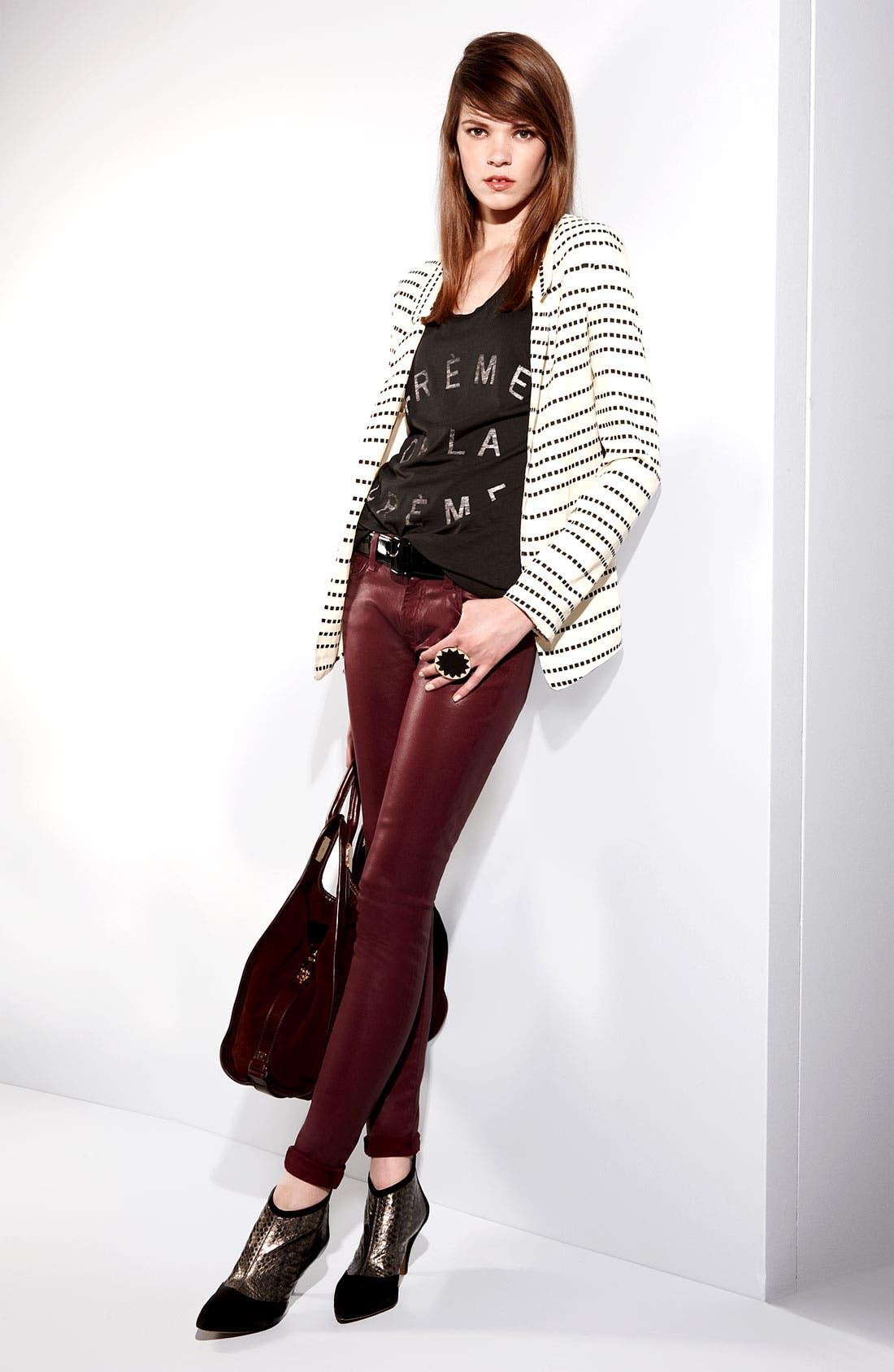 Alternate Image 5  - 7 For All Mankind® Coated Skinny Stretch Jeans (Merlot Coating)