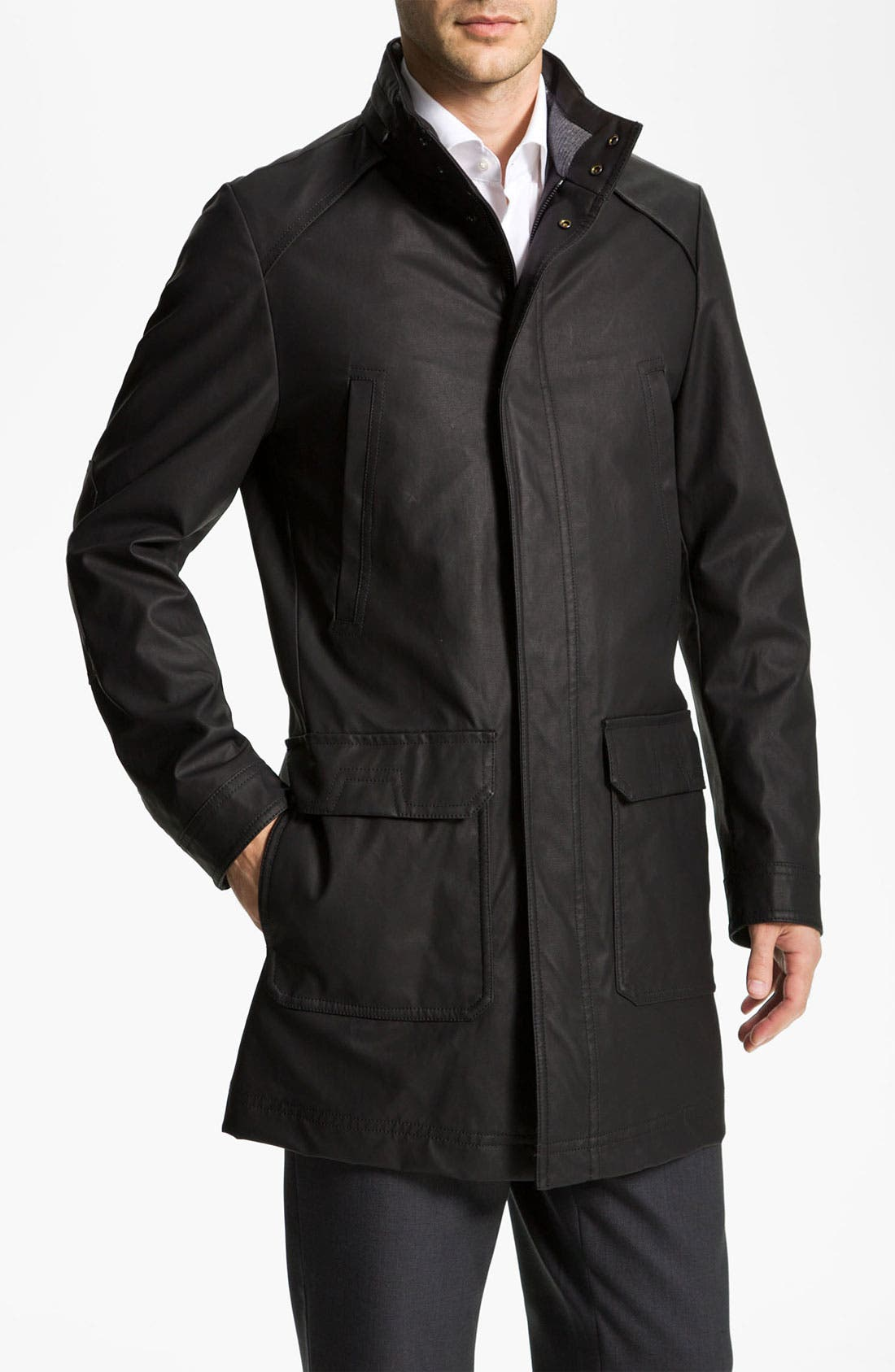 Alternate Image 1 Selected - BOSS Black 'Patron' Waxed Trench Coat