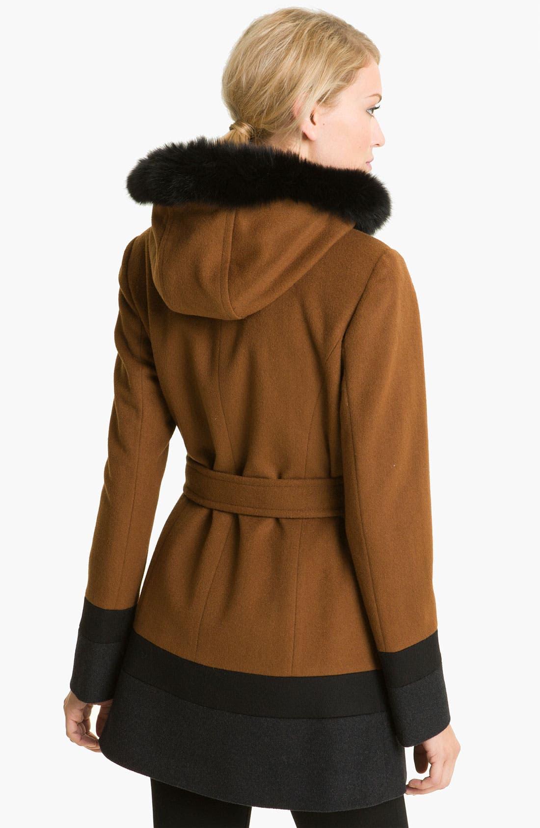 Alternate Image 2  - Ellen Tracy Colorblock Coat with Genuine Fox Fur Trim