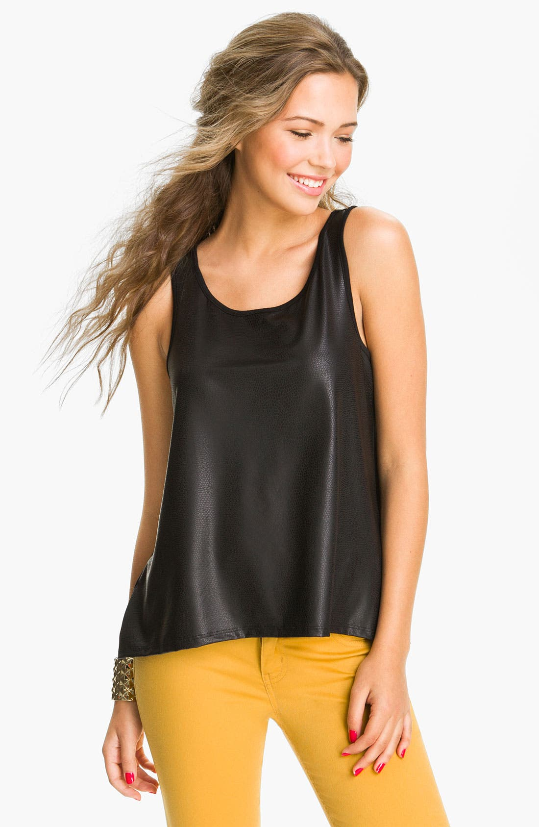 Alternate Image 1 Selected - WallpapHer Faux Leather Tank (Juniors)