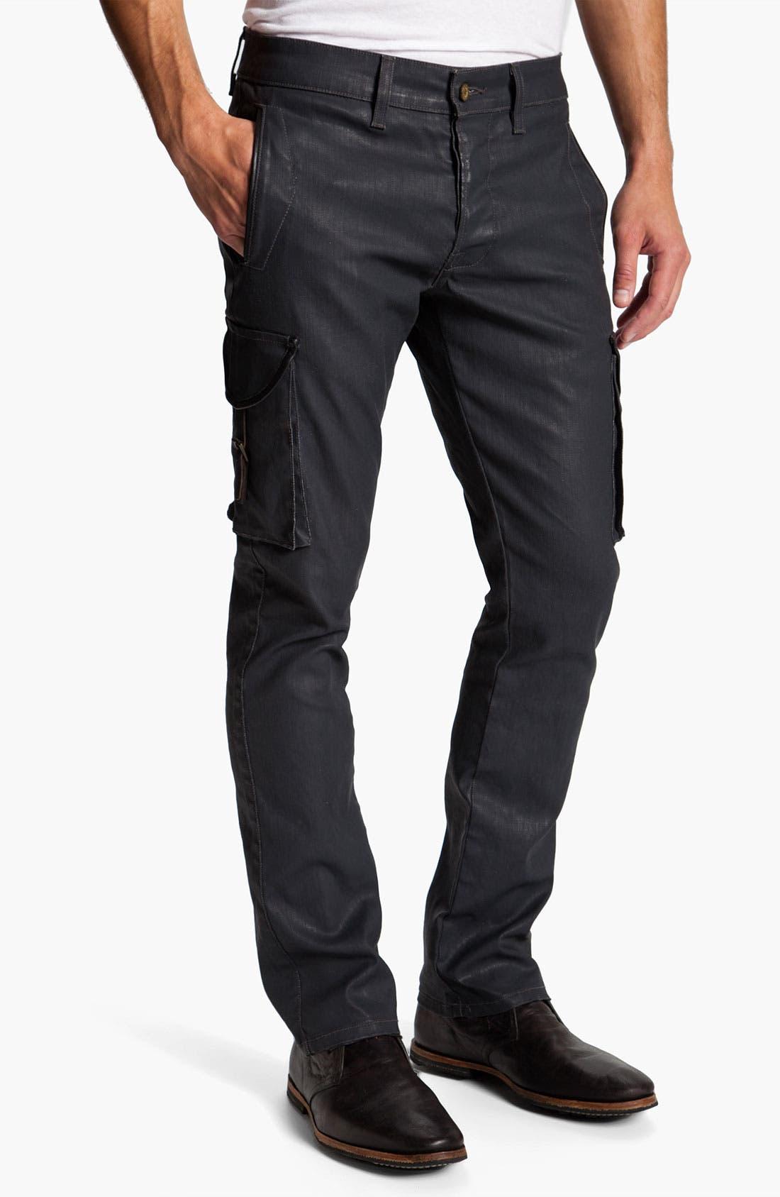 Main Image - Madisonpark Collective Coated Slim Straight Leg Cargo Pants
