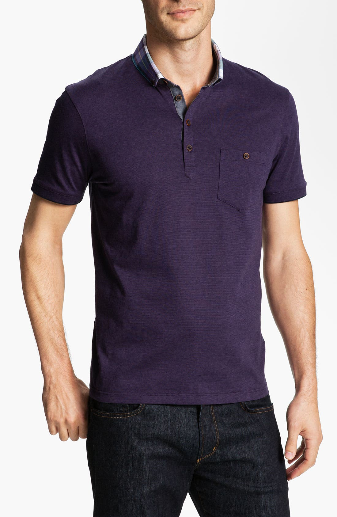 Main Image - Ted Baker London 'Theend' Woven Collar Polo