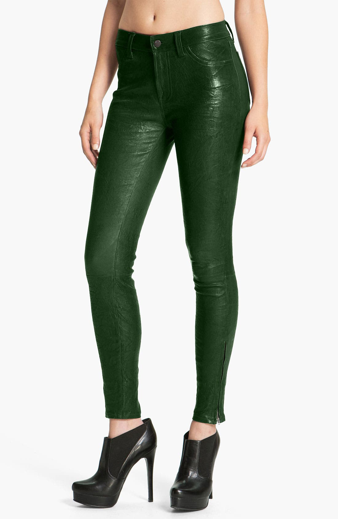 '8001' Lambskin Leather Pants,                             Main thumbnail 1, color,                             Forest