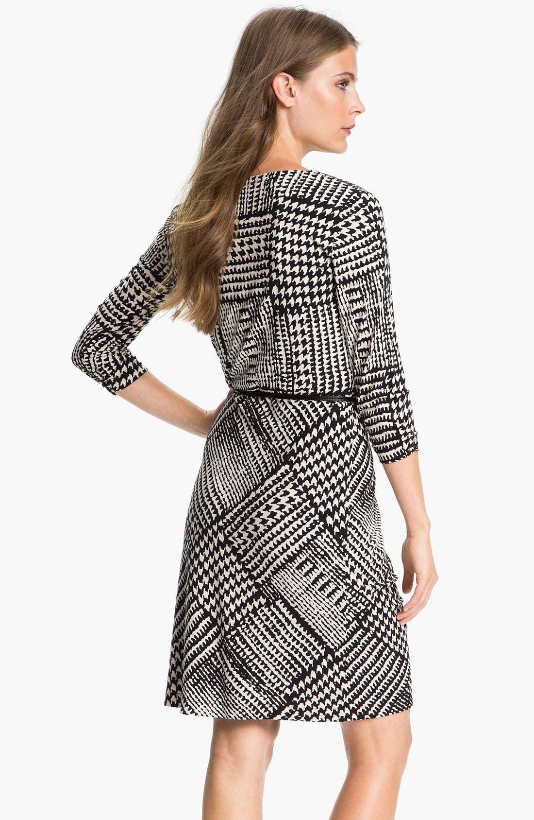 Alternate Image 2  - Tahari Houndstooth Belted Jersey Dress