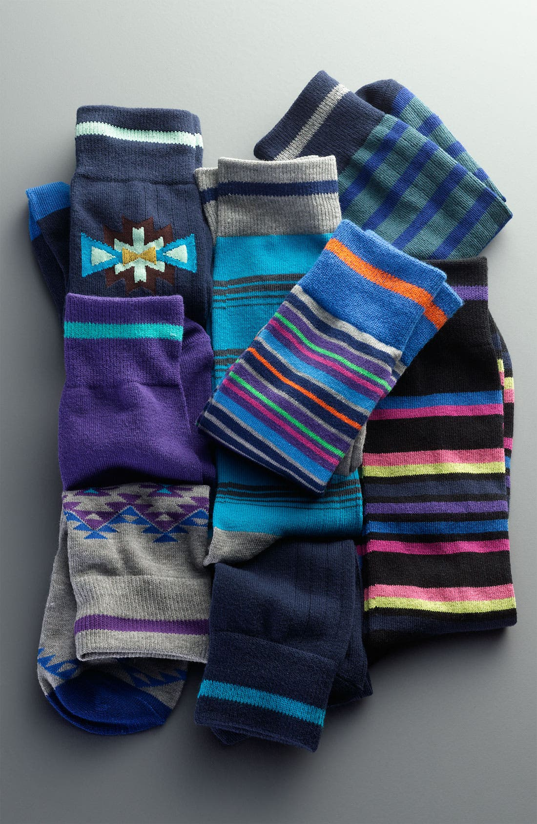 Alternate Image 2  - Basic Sock Patterned Socks (4-Pack)