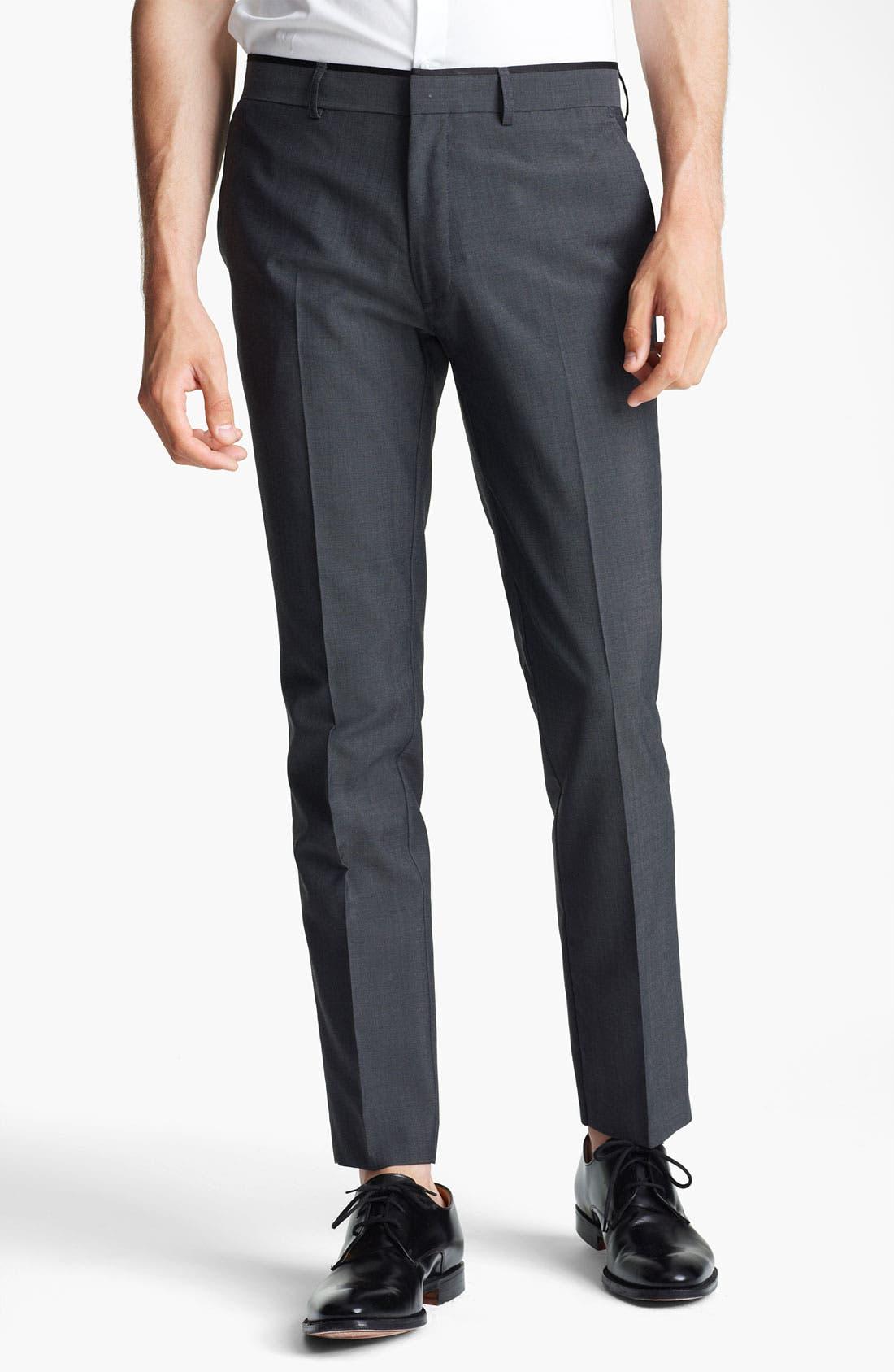 Alternate Image 1 Selected - Topman 'Novak' Skinny Fit Flat Front Trousers