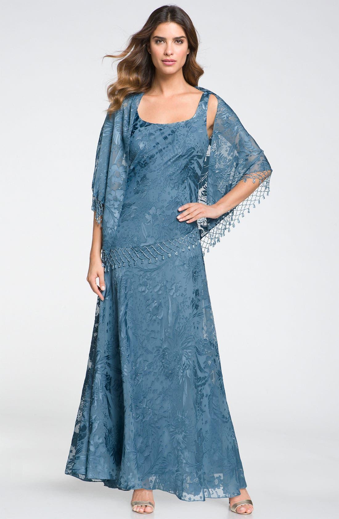 Main Image - Alex Evenings Sequin Lace Overlay Dress & Shawl (Petite)