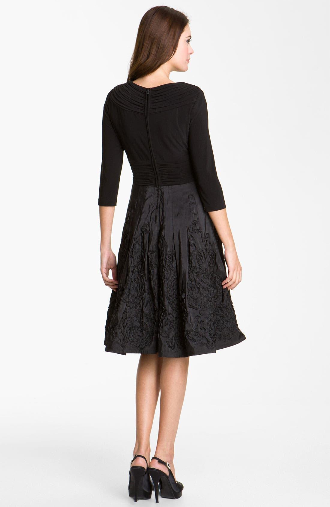 Alternate Image 2  - Adrianna Papell Rosette Mixed Media Dress (Petite)