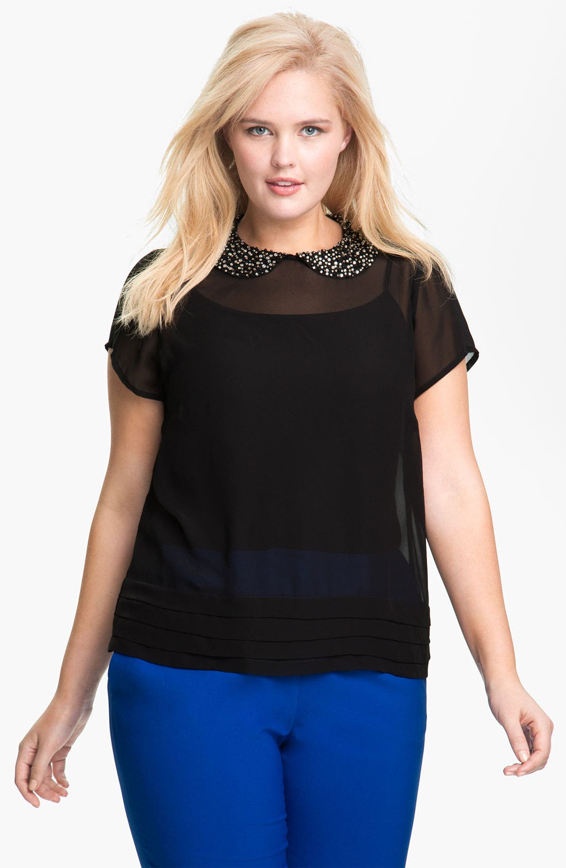 Alternate Image 1 Selected - Vince Camuto Jewel Collar Sheer Top (Plus)