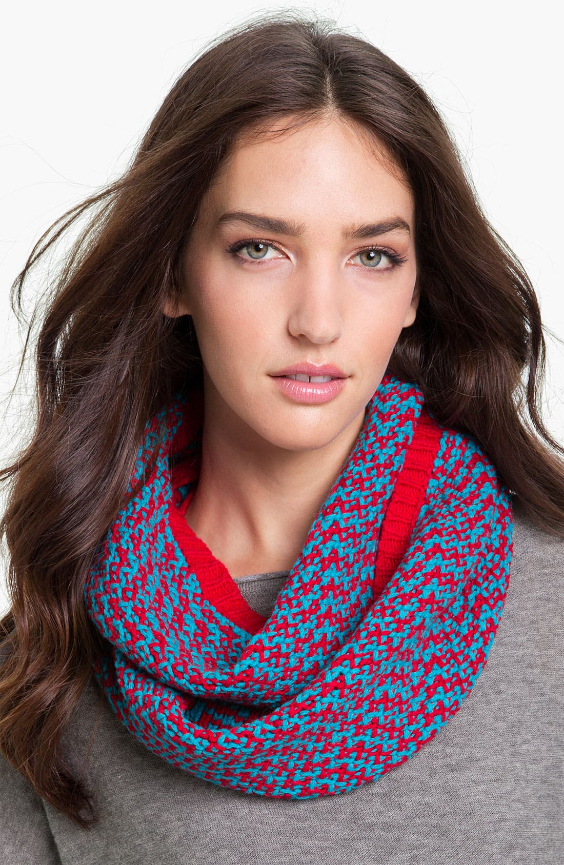'Lux' Zigzag Infinity Scarf,                         Main,                         color, Lacquer Red