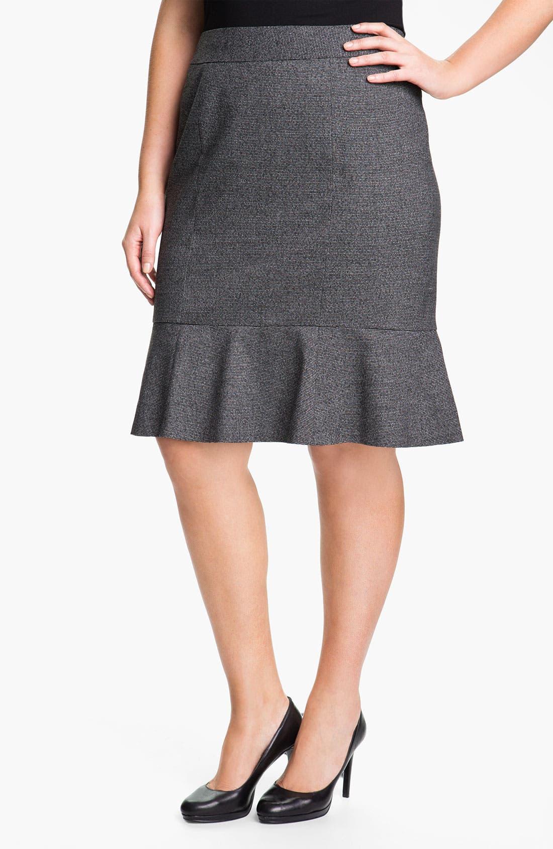 Alternate Image 1 Selected - Sejour Herringbone Suit Skirt (Plus)