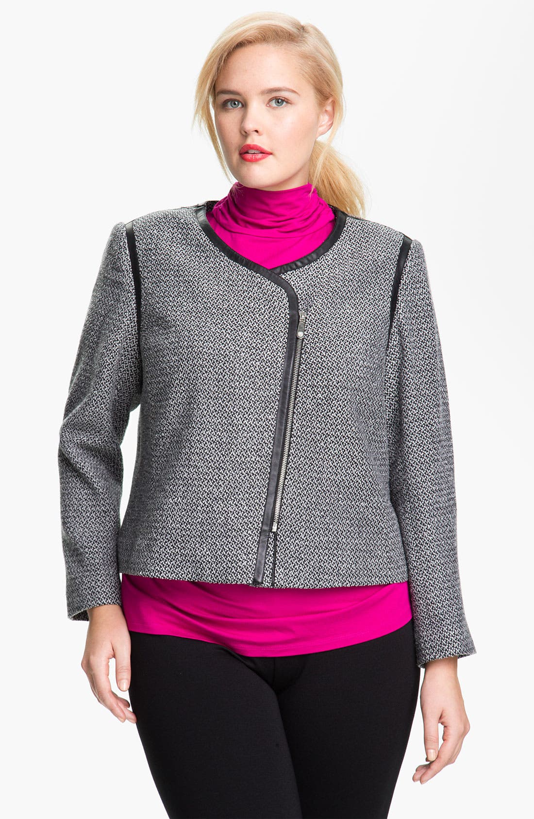 Alternate Image 1 Selected - Vince Camuto Faux Leather Trim Tweed Jacket (Plus)