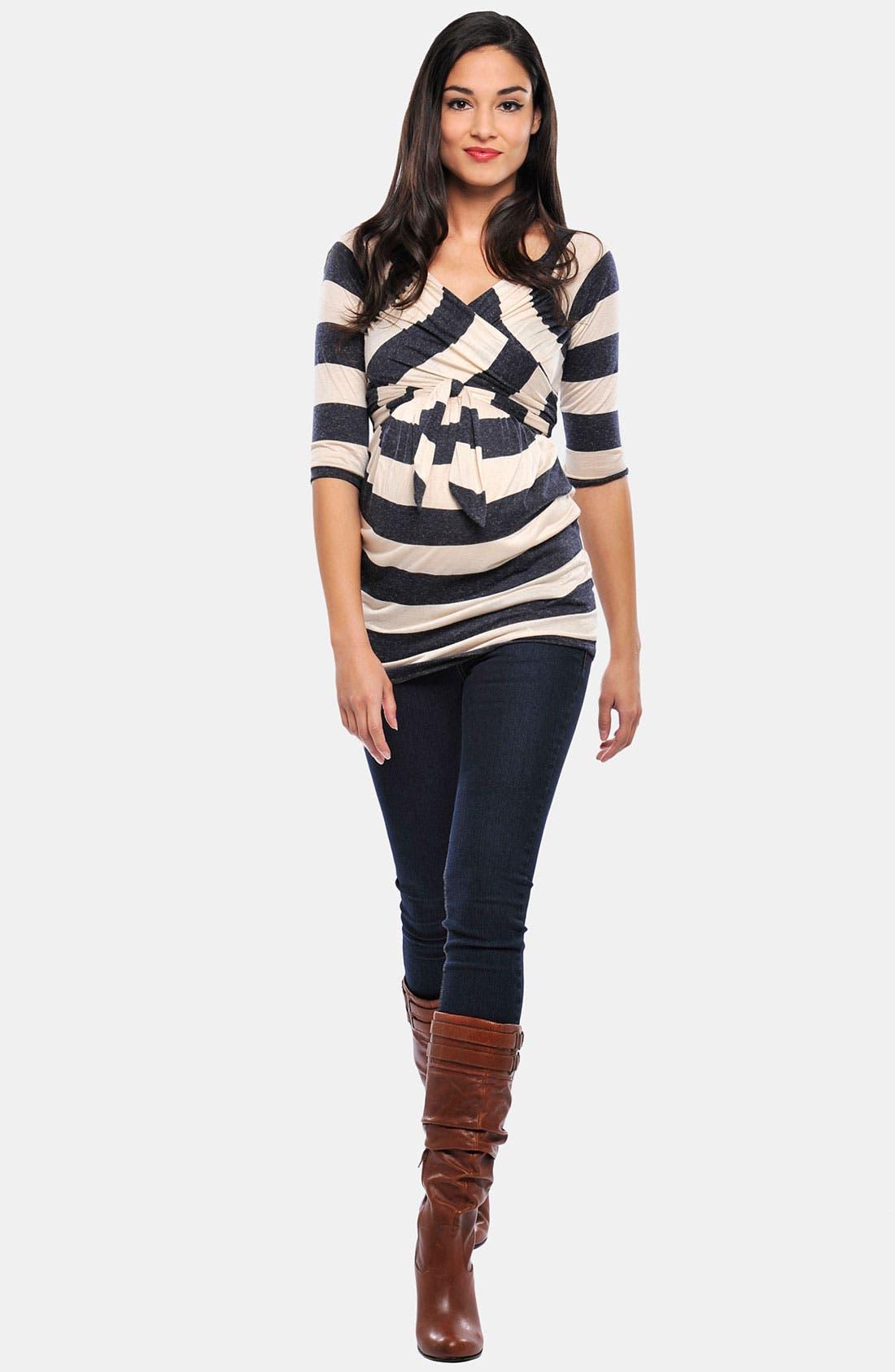 Main Image - Olian 'Kayla' Maternity Cross Front Stripe Tunic