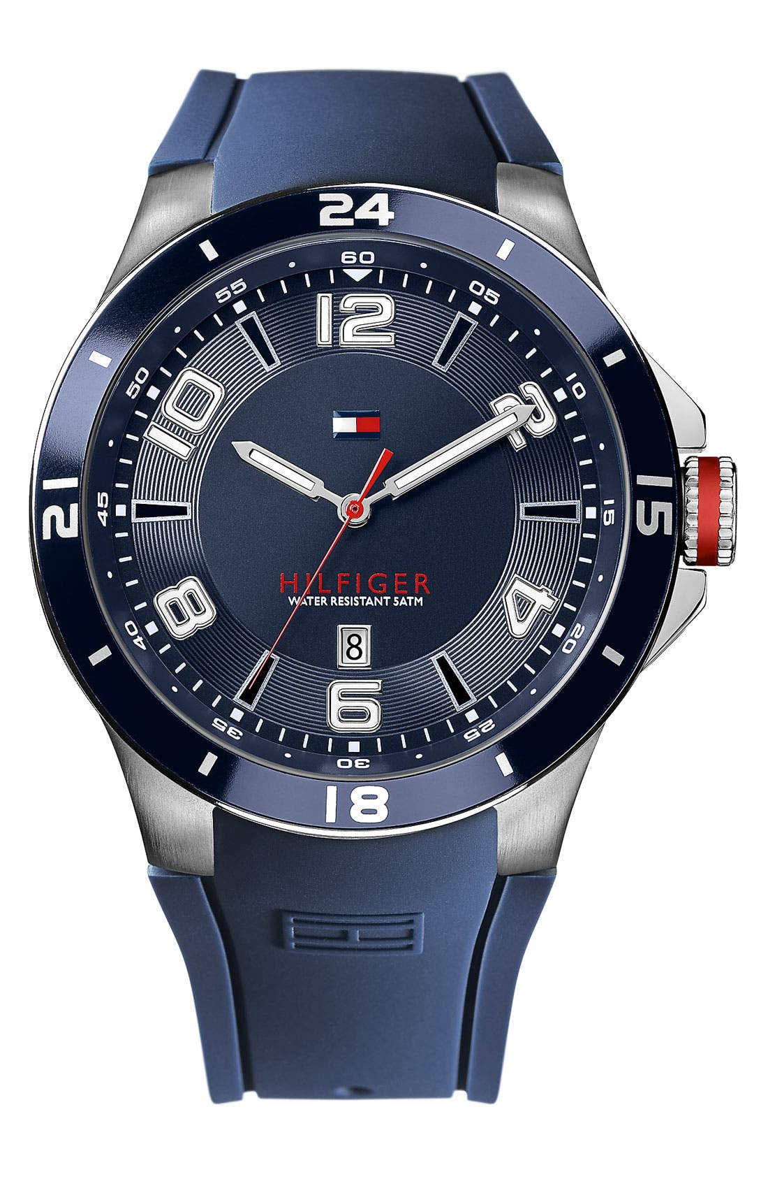 Alternate Image 1 Selected - Tommy Hilfiger Round Silicone Strap Watch, 44mm