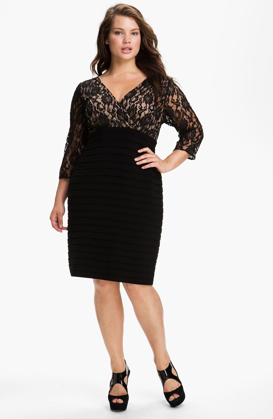Main Image - Adrianna Papell Lace Bodice Banded Sheath Dress (Plus Size)