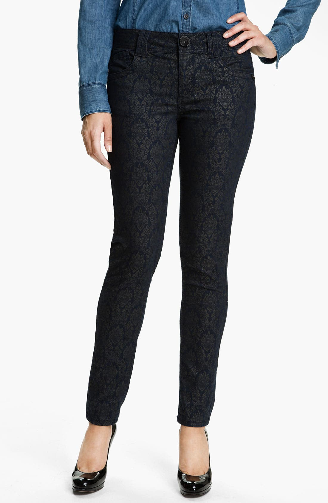 Main Image - Wit & Wisdom Brocade Print Skinny Jeans (Indigo) (Nordstrom Exclusive)