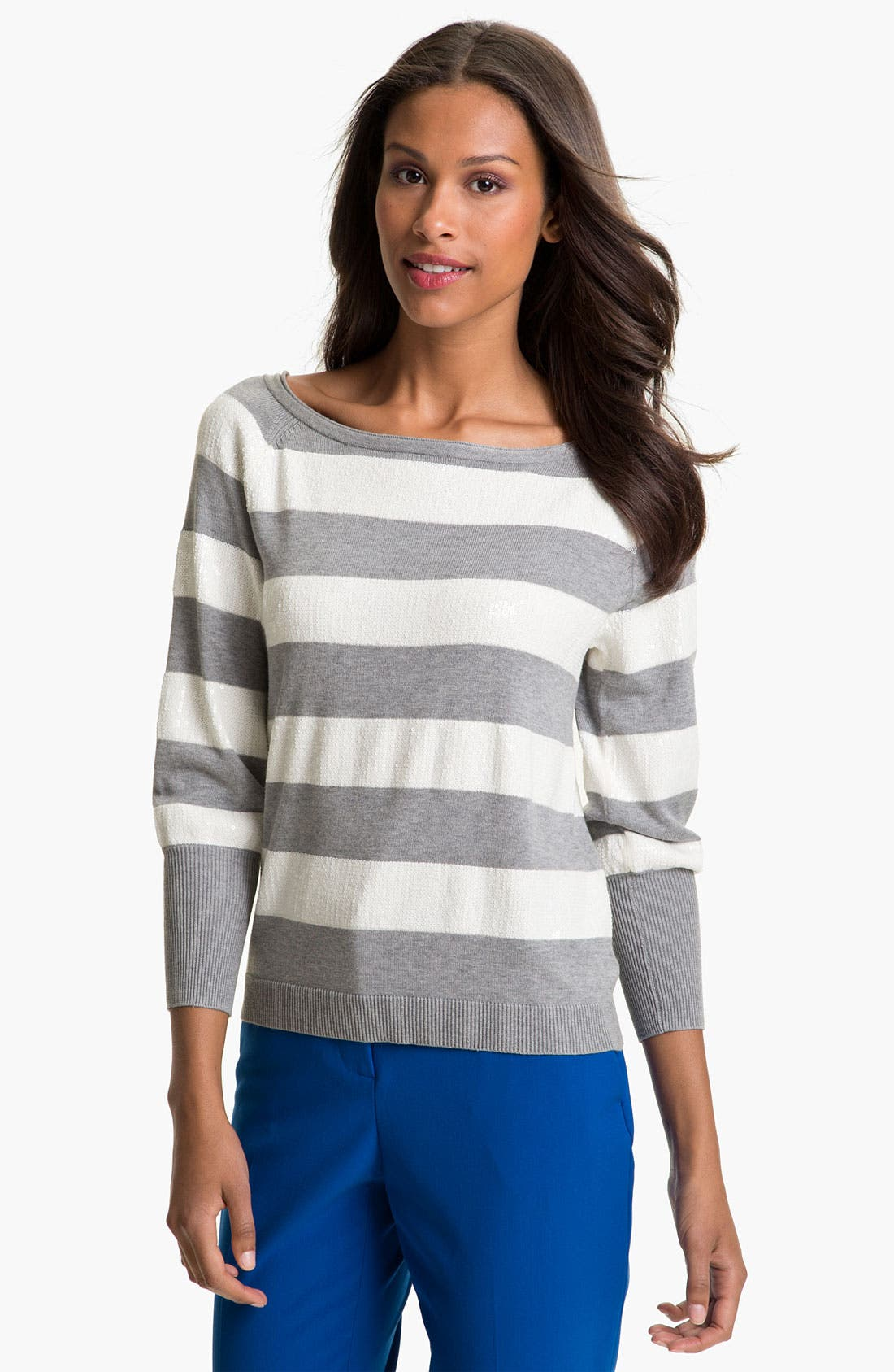 Alternate Image 1 Selected - Vince Camuto Sequin Stripe Sweater
