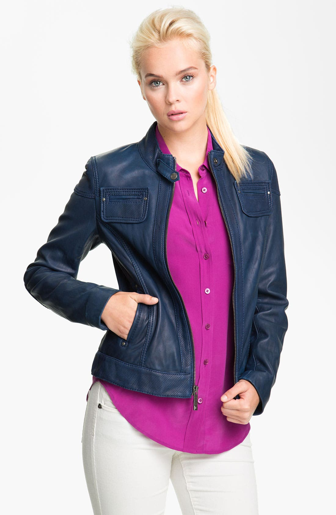 Alternate Image 1 Selected - MICHAEL Michael Kors Perforated Trim Leather Scuba Jacket