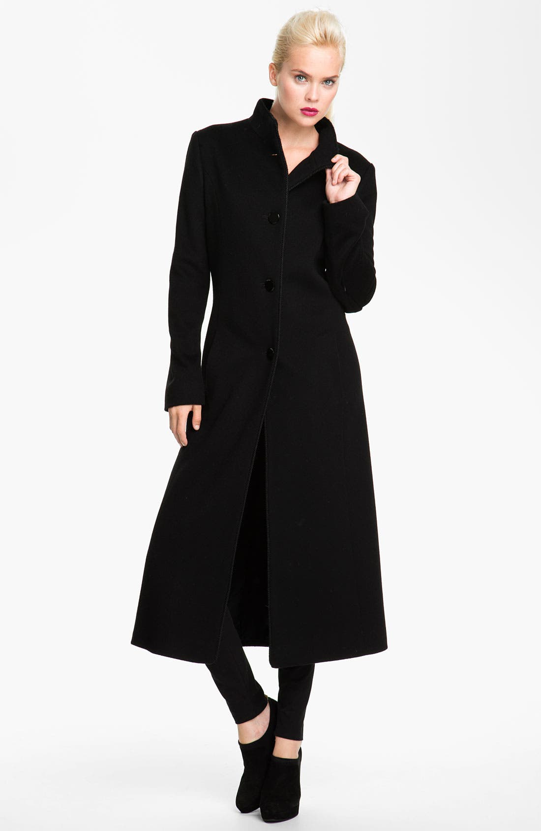 Main Image - Fleurette Stand Collar Loro Piana Wool Coat (Petite)