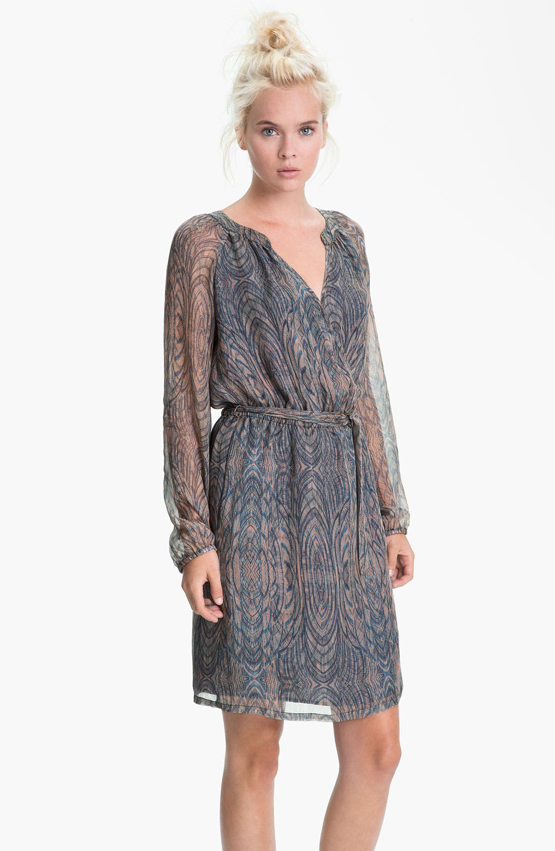 Main Image - Presley Skye Printed Blouson Sleeve Silk Dress