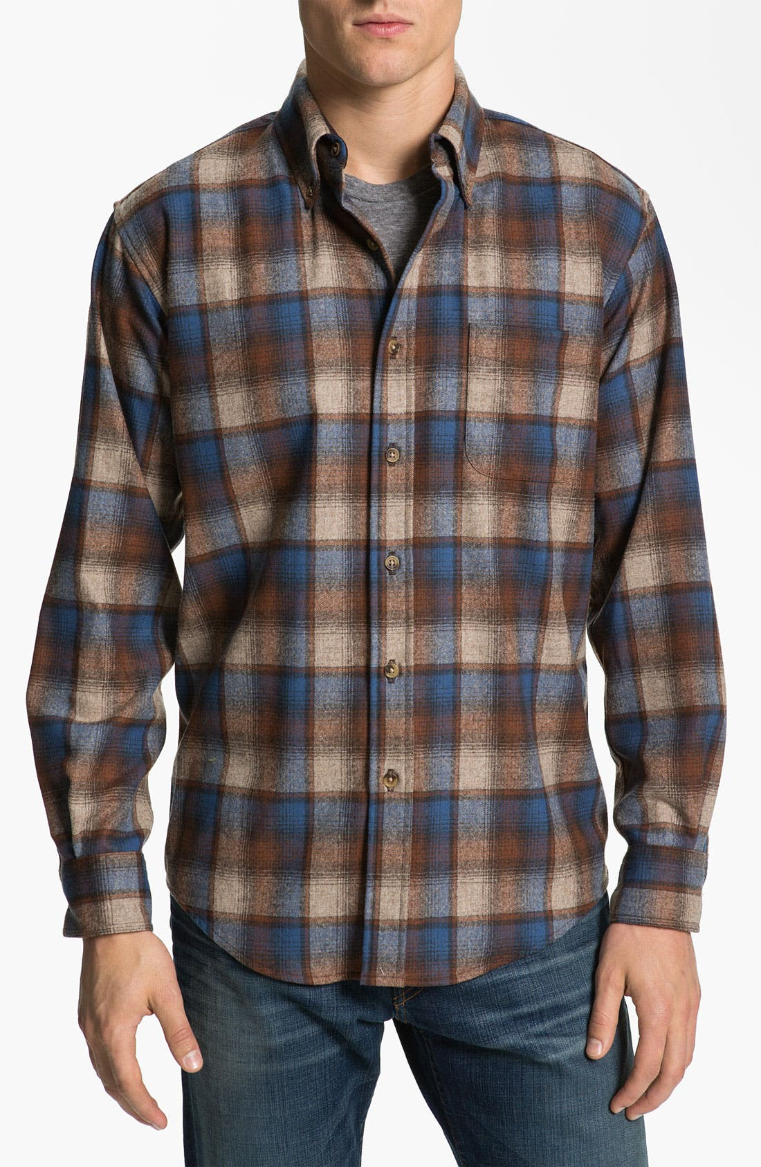 Main Image - Pendleton 'Fireside' Fitted Plaid Wool Flannel Shirt
