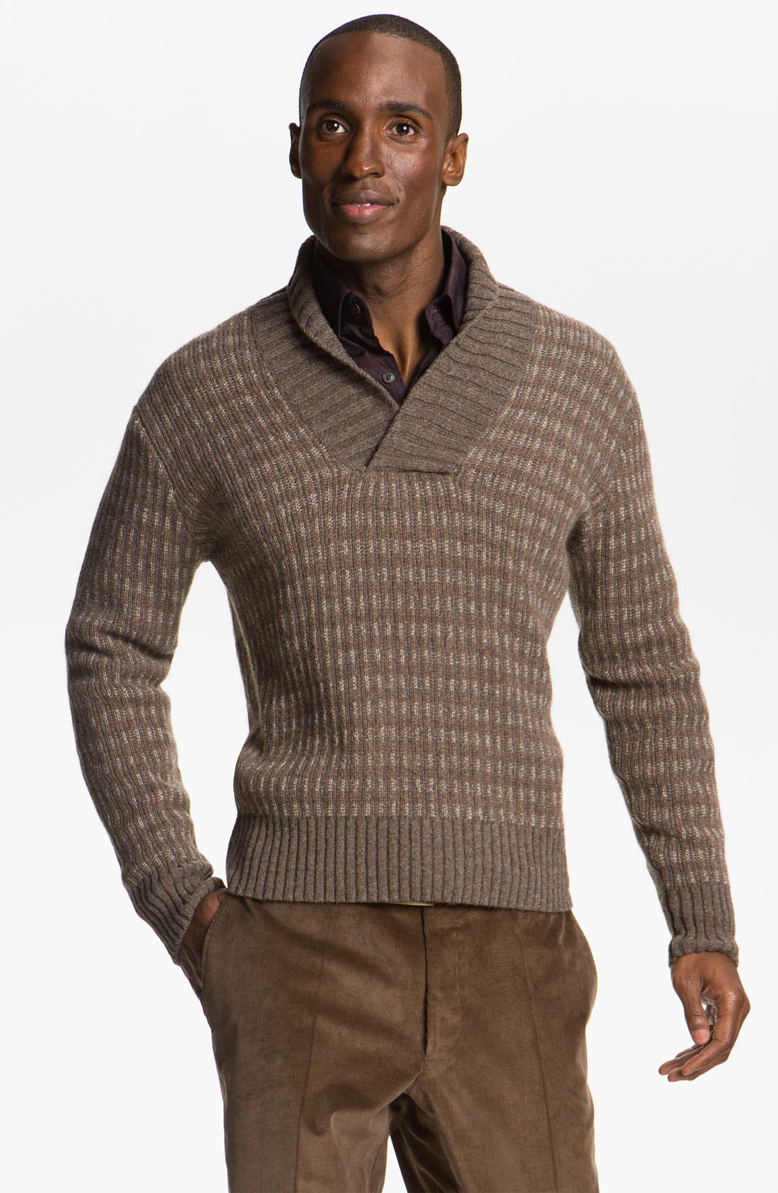 Alpaca & Merino Shawl Collar Sweater,                             Main thumbnail 1, color,                             Brown