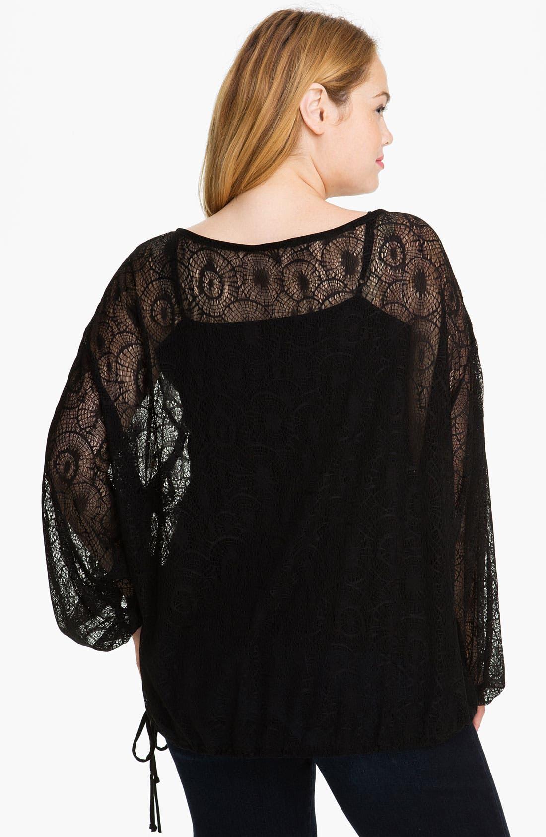 Alternate Image 2  - LA Made Bloused Lace Top (Plus)