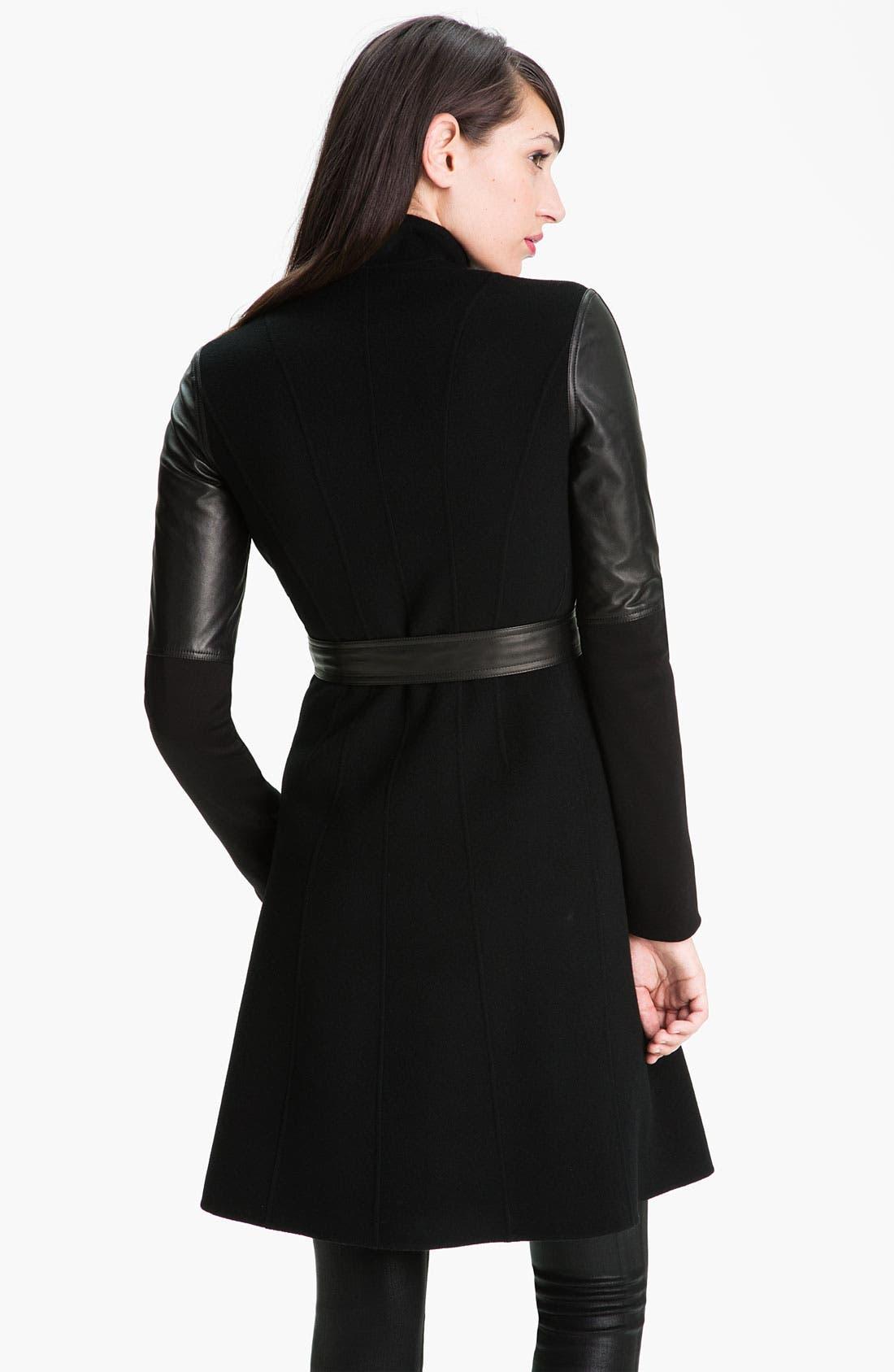 Alternate Image 2  - Dawn Levy 'Minka' Wool & Leather Coat