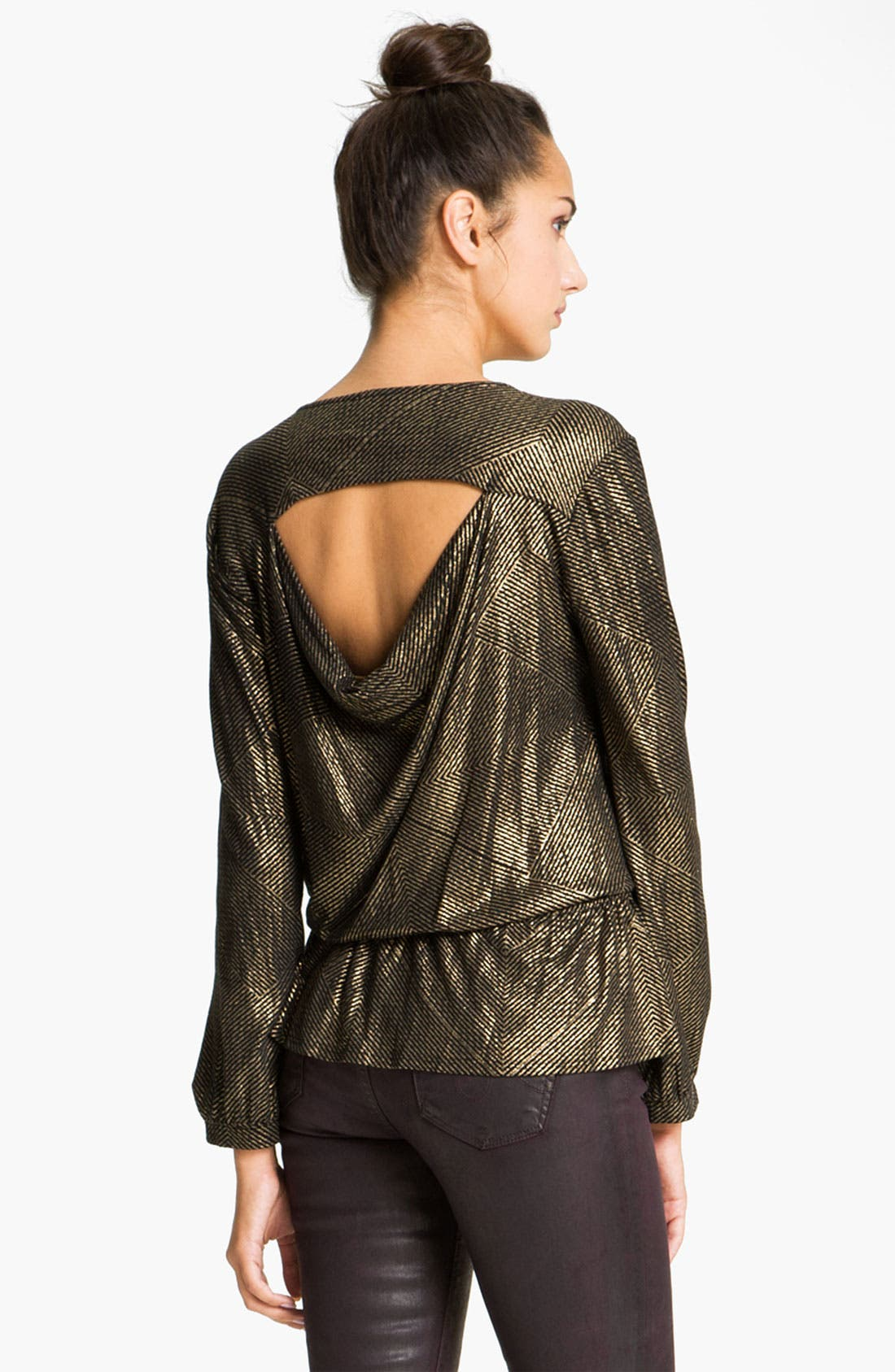 Alternate Image 2  - Ella Moss 'Gilda' Metallic Faux Wrap Peplum Top