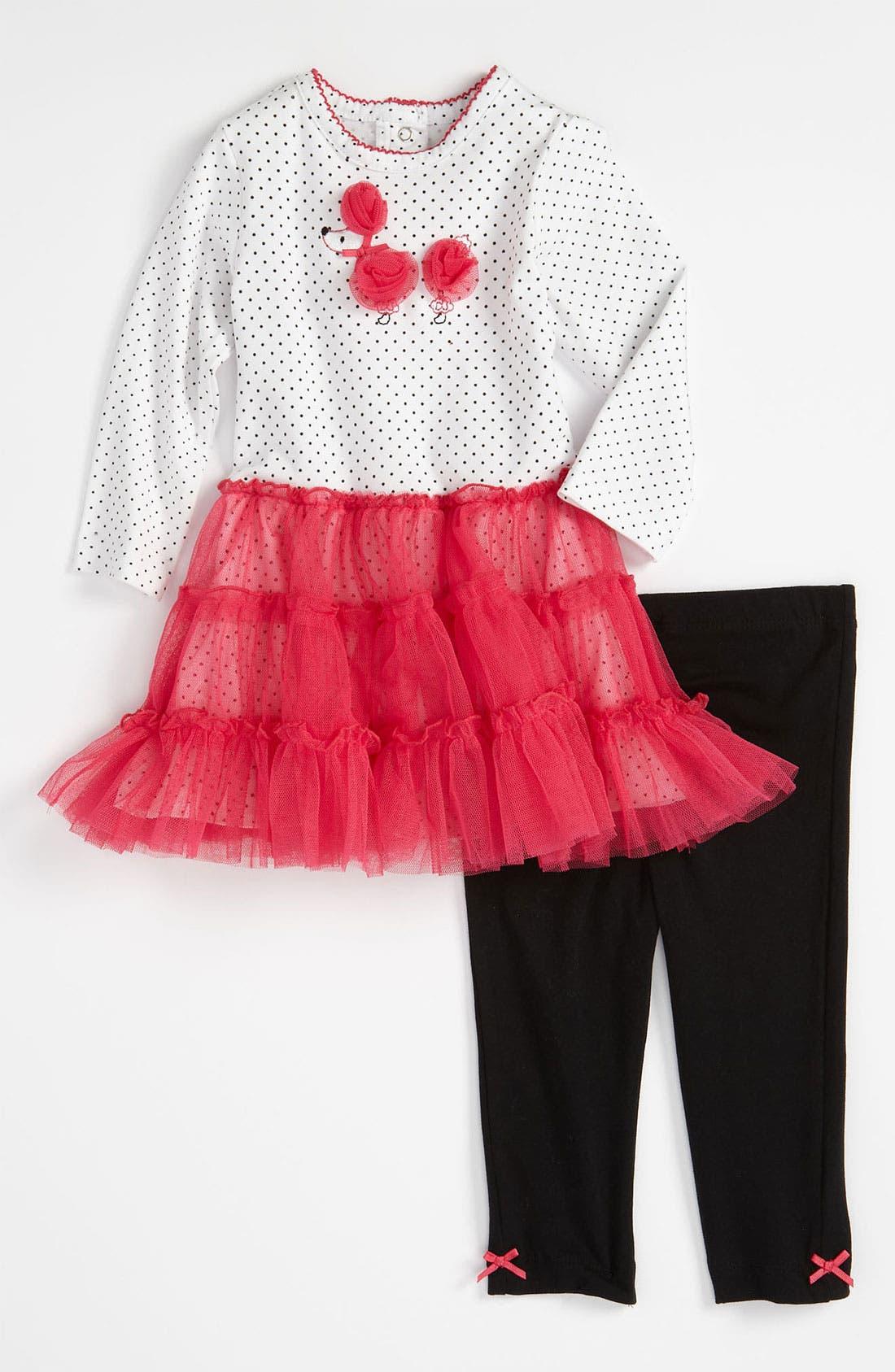 Main Image - Little Me 'Paris Poodle' Dress & Leggings (Infant)