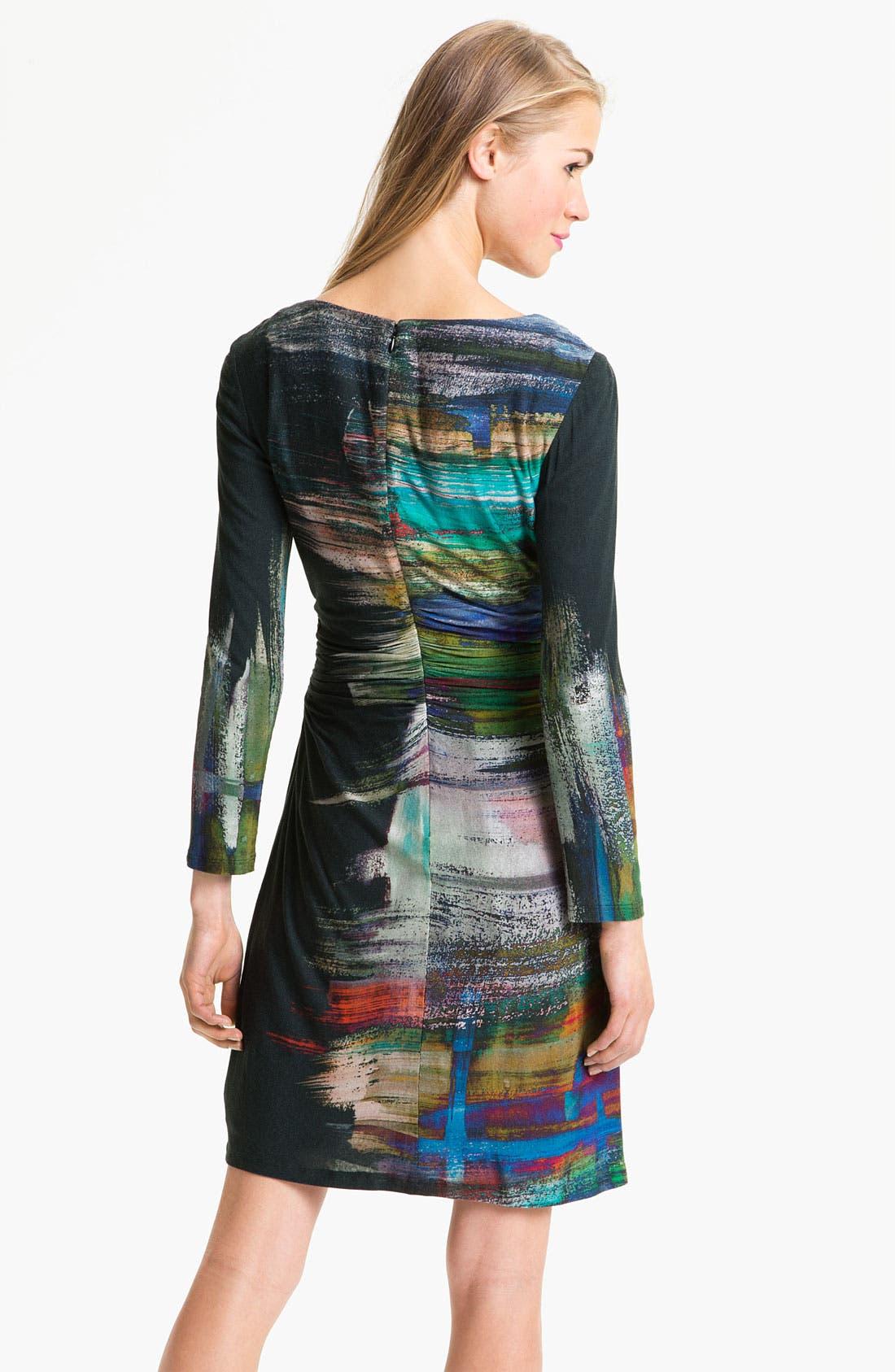 Alternate Image 2  - Kay Unger V-Neck Paint Stain Jersey Dress