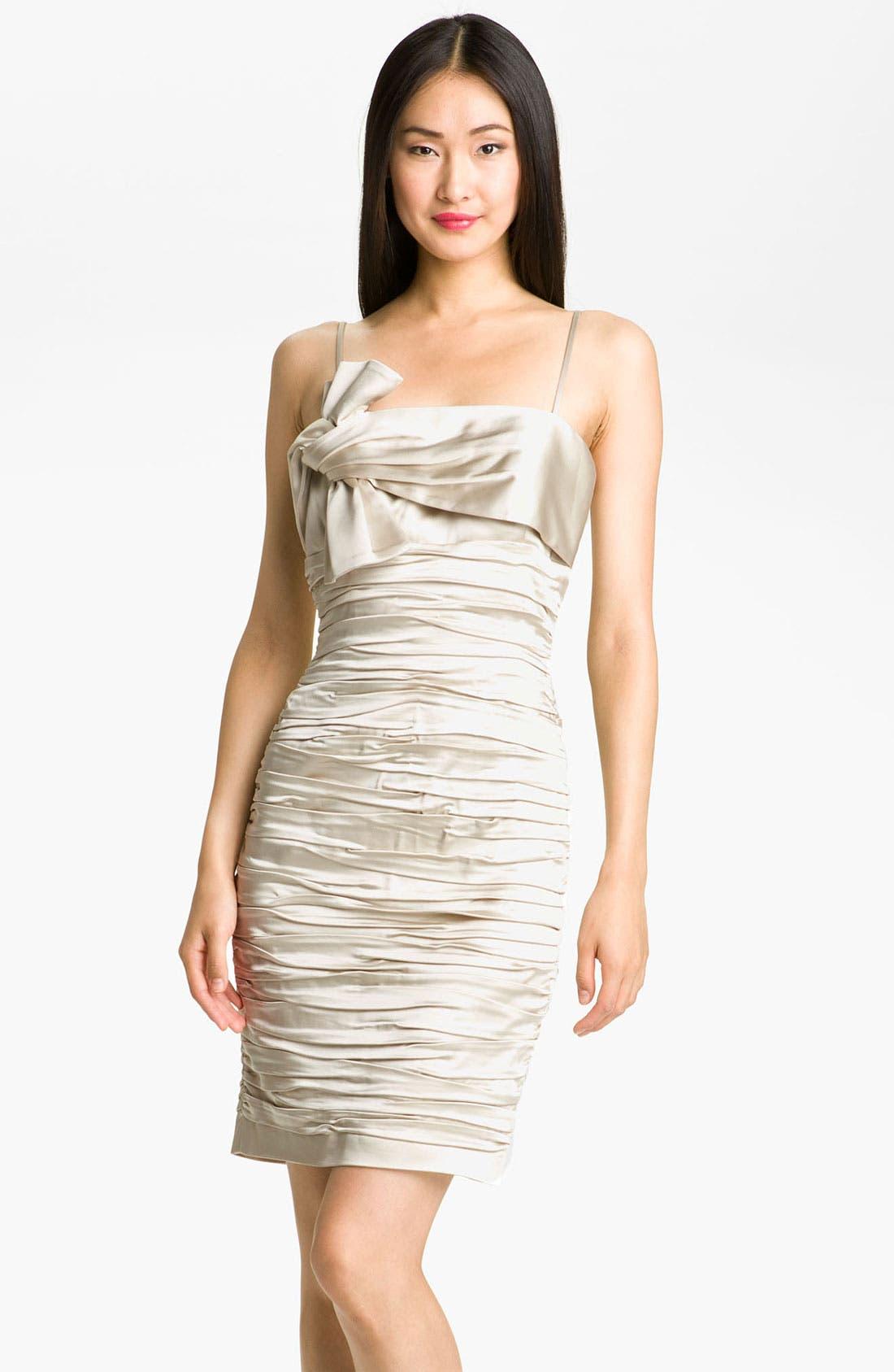 Alternate Image 1 Selected - Calvin Klein Ruched Satin Sheath Dress
