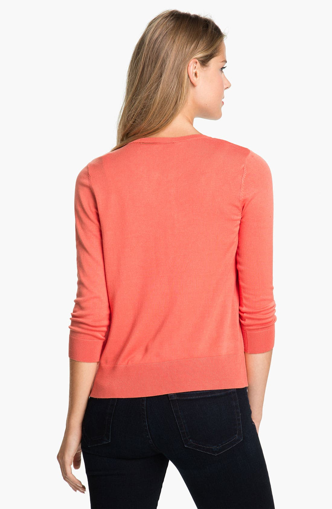 Alternate Image 2  - Halogen® Three Quarter Sleeve Crewneck Cardigan