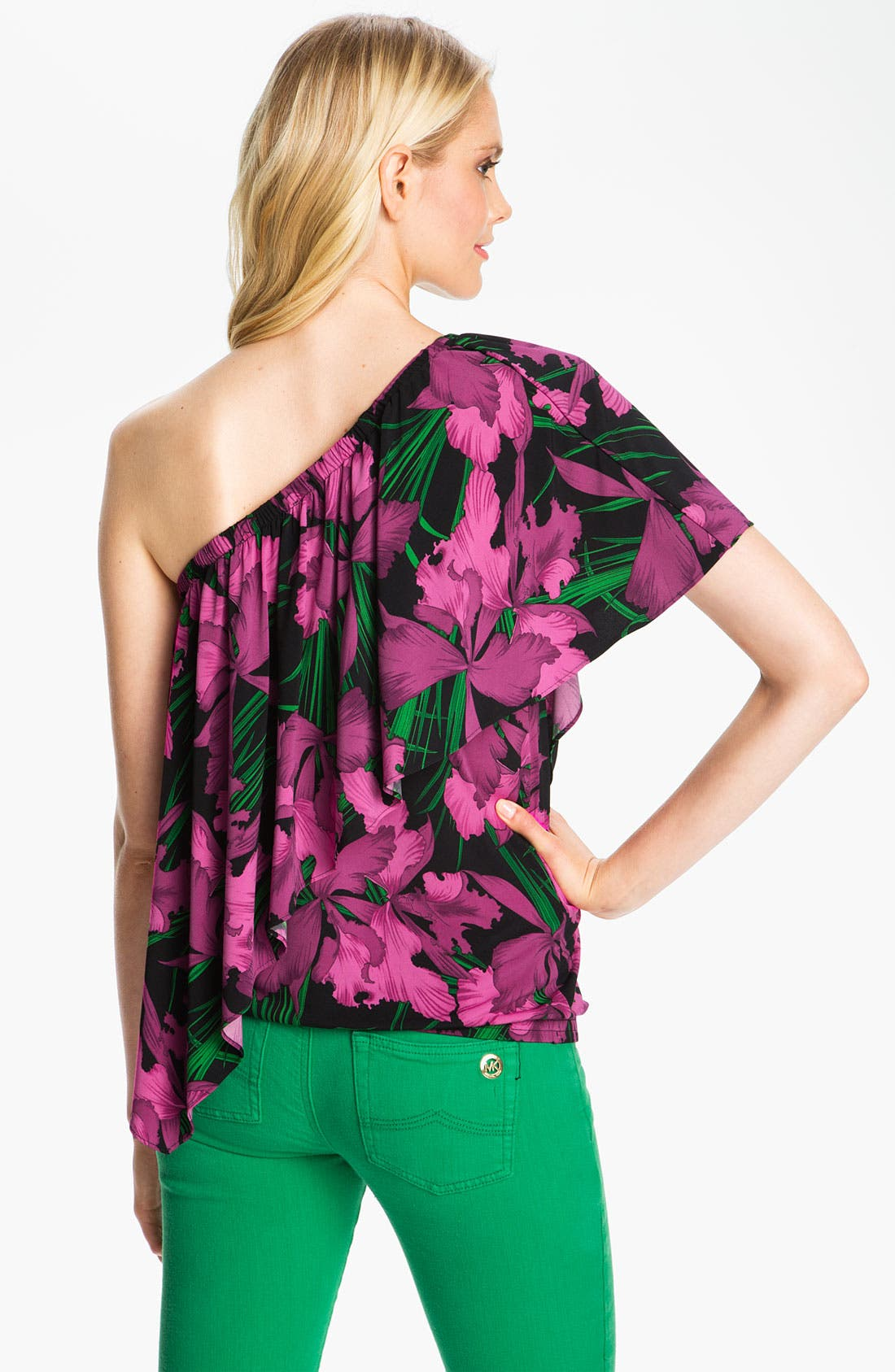 Alternate Image 2  - MICHAEL Michael Kors One Shoulder Cascade Blouse