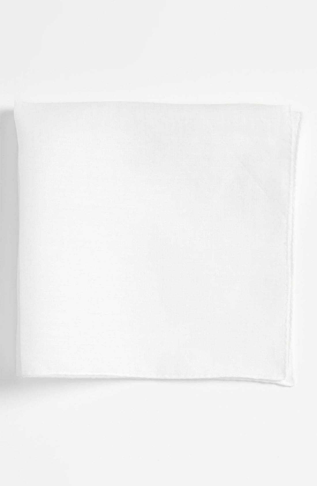 Linen Pocket Square,                         Main,                         color, White
