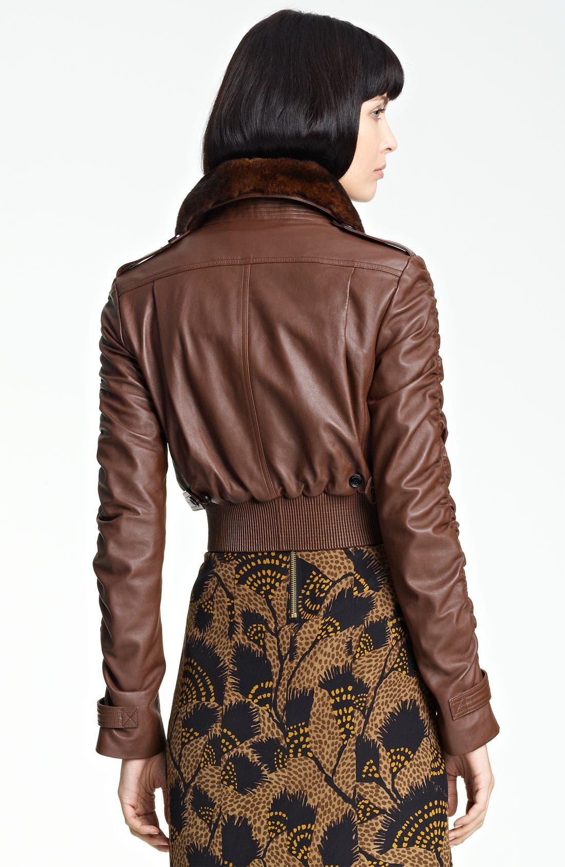 Alternate Image 2  - Burberry London Leather Bomber Jacket with Genuine Rabbit Fur Collar
