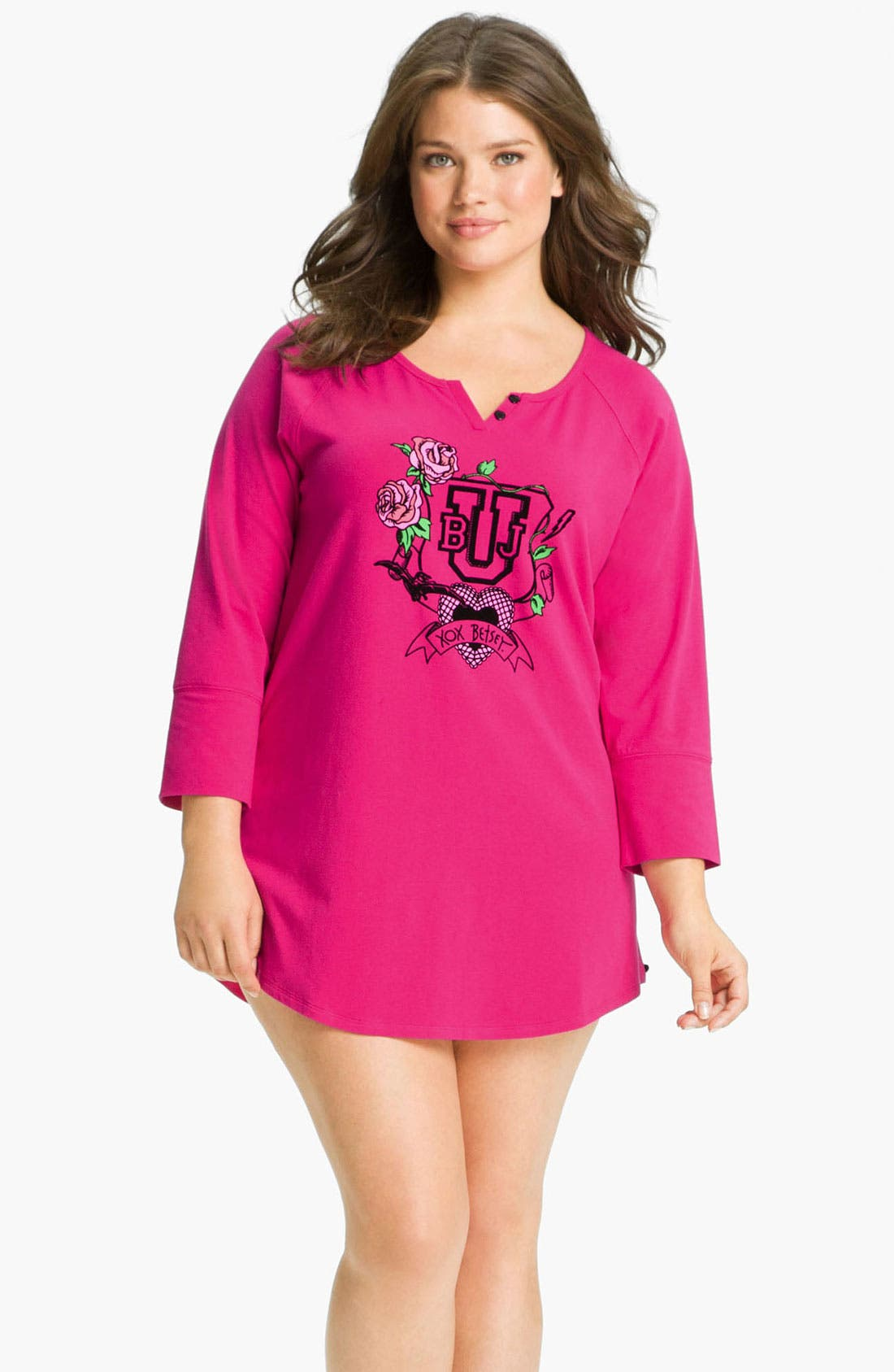 Alternate Image 1 Selected - Betsey Johnson Stretch Cotton Sleep Shirt (Plus)