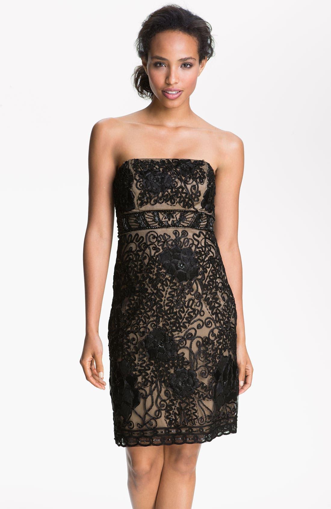 Main Image - Sue Wong Strapless Embroidered Mesh Sheath Dress