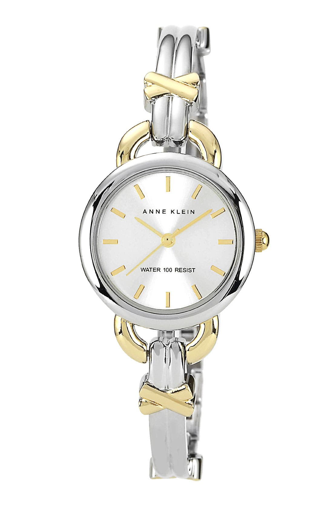 Alternate Image 1 Selected - Anne Klein Round Two Tone Bangle Watch