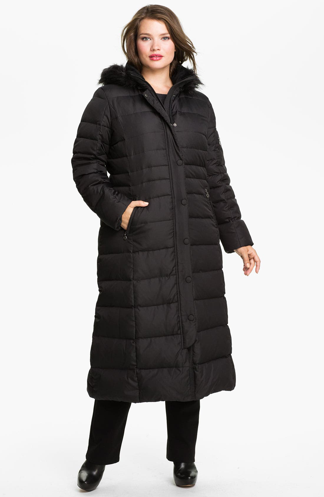 Main Image - DKNY Quilted Maxi Coat with Faux Fur Trim (Plus)