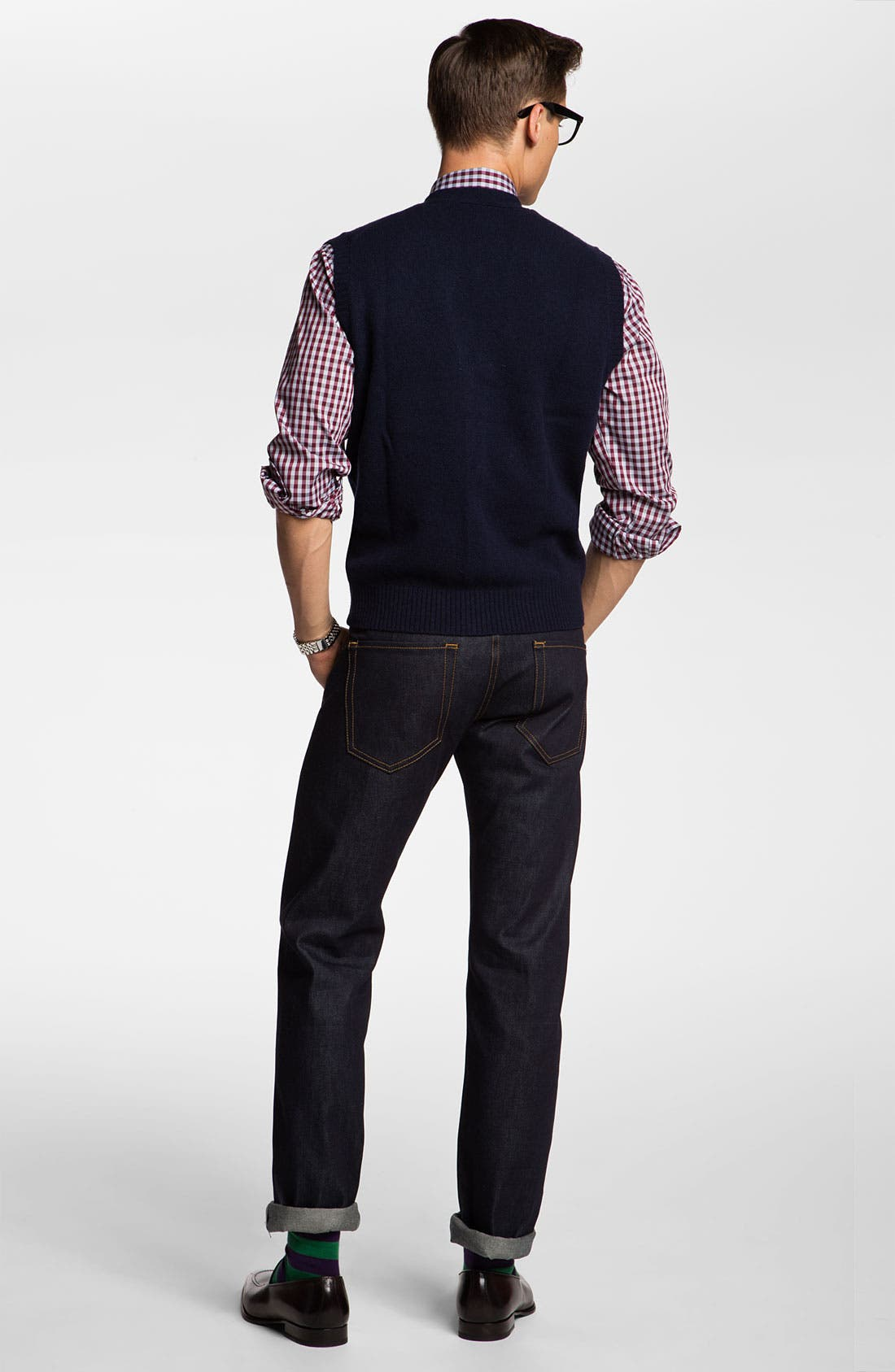 Alternate Image 5  - Brooks Brothers Lambswool Cardigan Vest