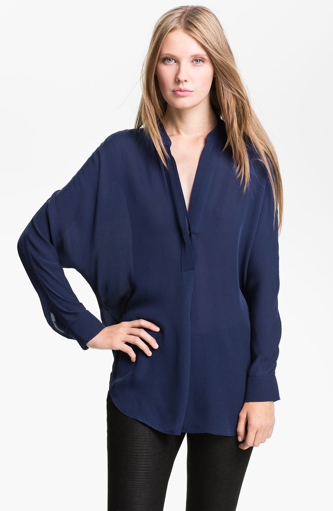 Alternate Image 1 Selected - Vince Half Packet Silk Blouse