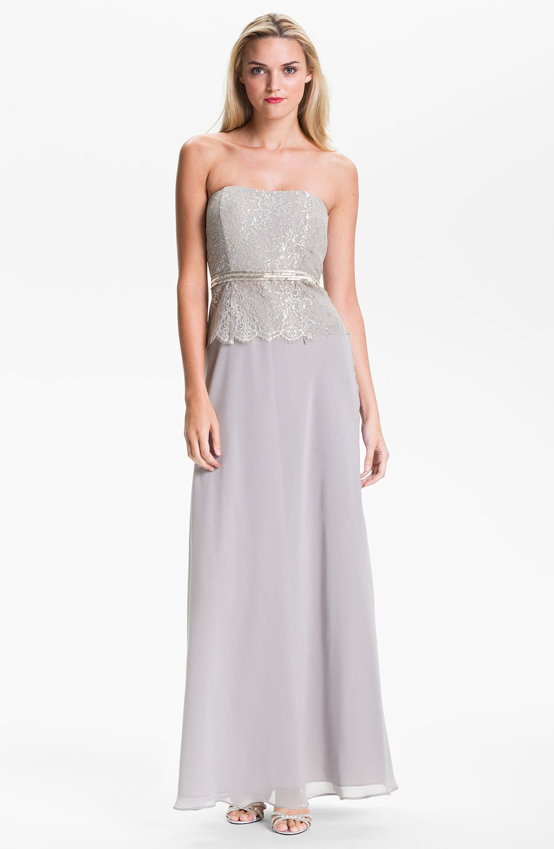 Alternate Image 1 Selected - Calvin Klein Strapless Metallic Lace & Chiffon Gown