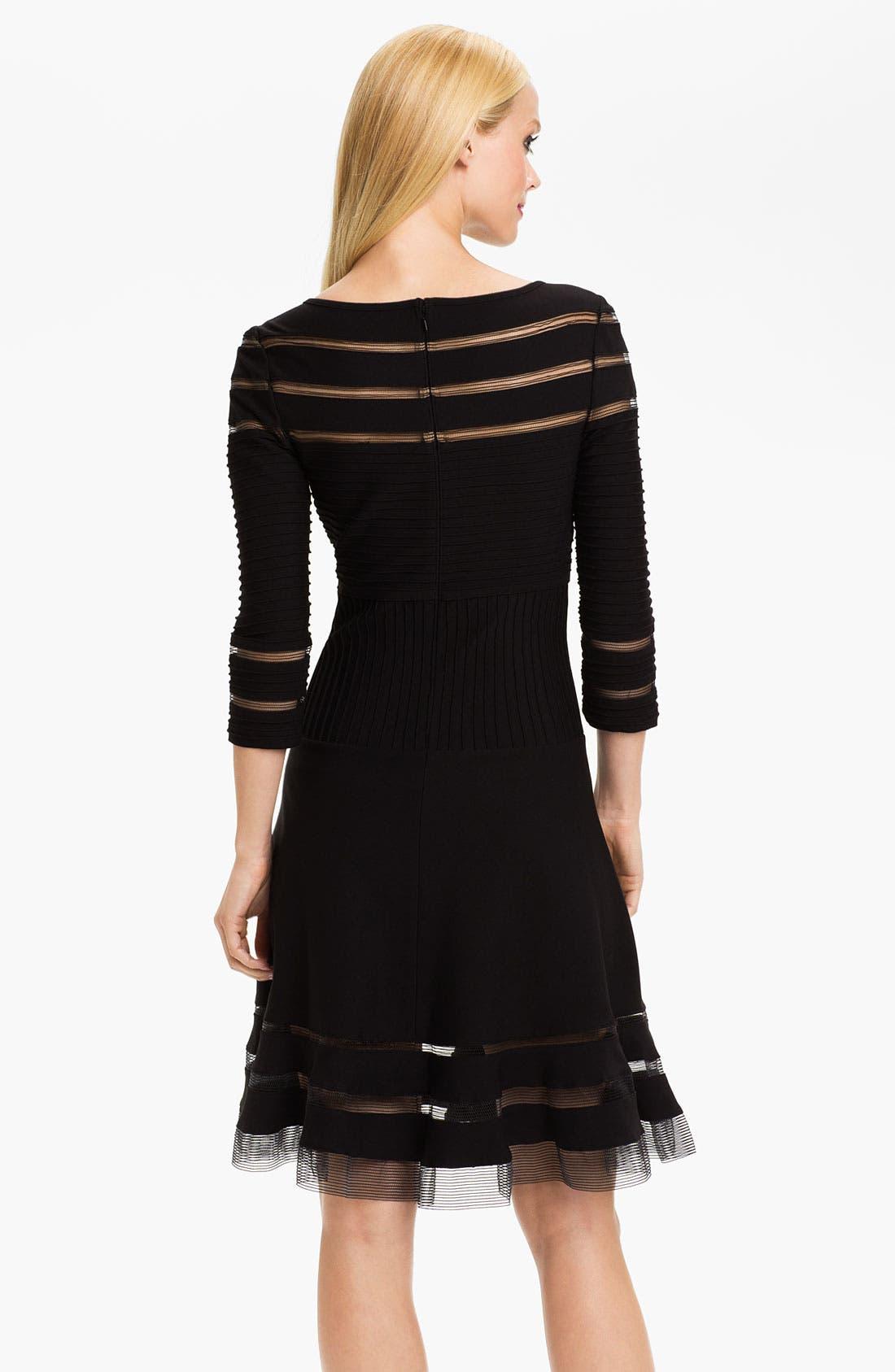 Alternate Image 2  - Tadashi Shoji Mesh Stripe Fit & Flare Dress (Regular & Petite)