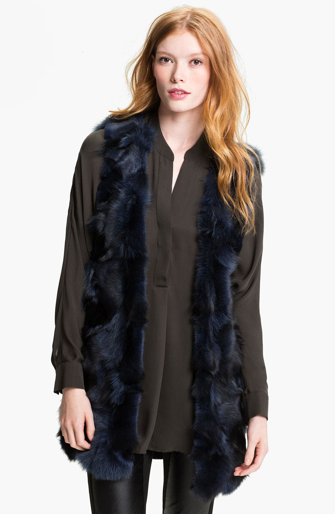 Main Image - Alberto Makali Genuine Fox Fur & Knit Vest (Online Exclusive)