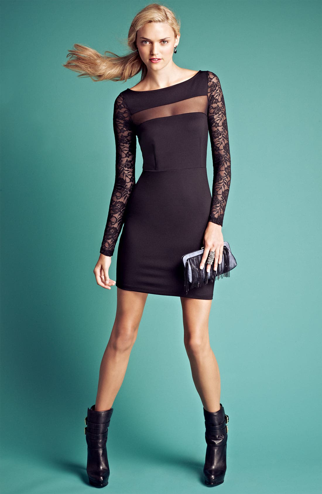 Alternate Image 4  - BB Dakota 'Parley' Illusion Mesh Jersey Knit Sheath Dress