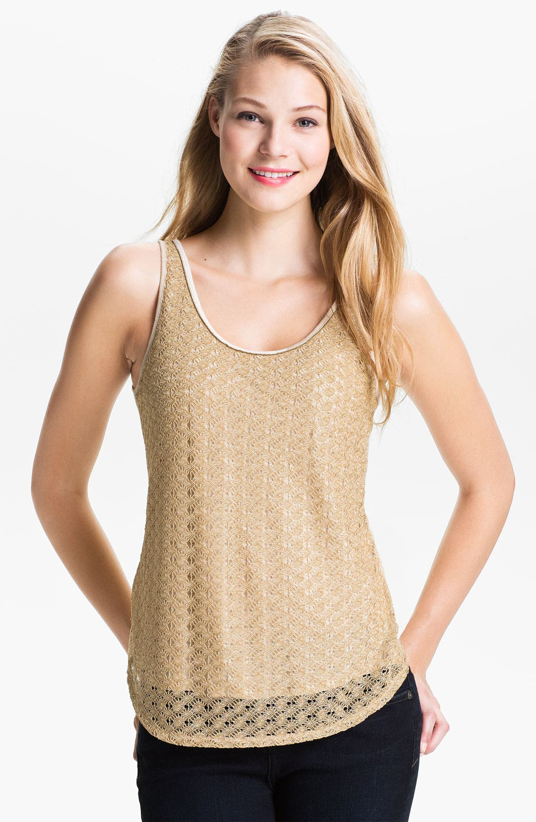 Alternate Image 1 Selected - Lucky Brand Gilded Lace Tank